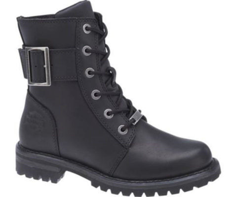 Harley Davidson Sylewood Black Leather Biker Boots Ladies Lace Up Ankle Boot - BOOTSANDLEATHER