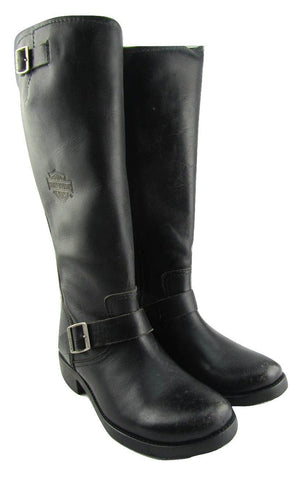 Harley Davidson Kananwood Black Leather Biker Hi Boots Zip Motorbike Ladies - BOOTSANDLEATHER