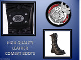 Angry Itch 14 Hole Punk Black Buckle Leather Army Ranger Boots Steel Toe Zip - BOOTSANDLEATHER