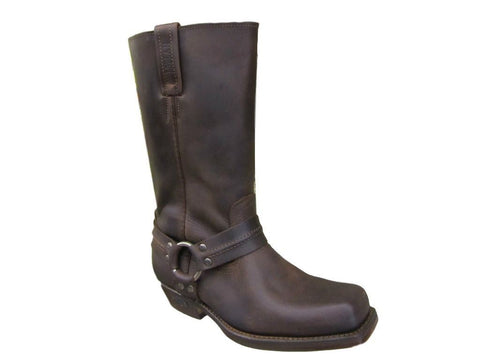 Loblan 295 Brown Waxy Leather Mens Biker Boots Classic Cowboy Square Chisel Toe - BOOTSANDLEATHER