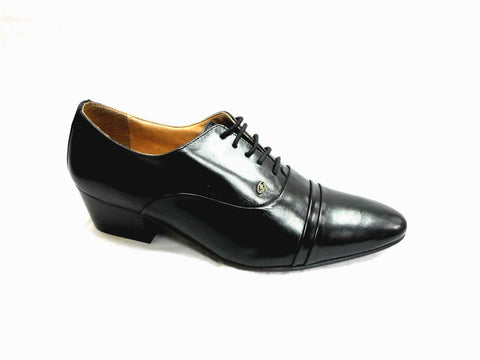 Lucini Formal Mens Cuban Heels Real Leather Lace Up Wedding Shoes Black Mat - BOOTSANDLEATHER