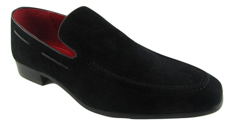 Rossellini Runu Mens Moccasin Shoes Black Faux Suede Heel Loafer - BOOTSANDLEATHER