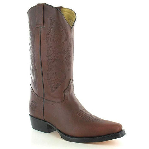 Grinders Louisiana Western Cowboy Brown Caoba Leather Boots Men'S Biker Boot - BOOTSANDLEATHER