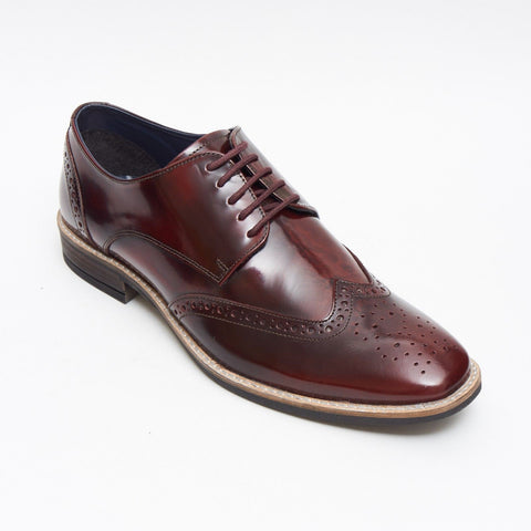 Lucini Formal Men Burgundy Leather Formal Lace-Up Brogues Shoes Wedding Office - BOOTSANDLEATHER