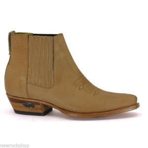 Loblan 298 Tan Beige Leather Men'S Short Boots Classic Ankle Cowboy Pointed Boot