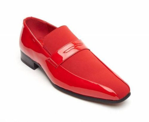 Rossellini Monzese Mens Shoes Red Faux Shiny Leather Wedding Moccasin Loafer - BOOTSANDLEATHER