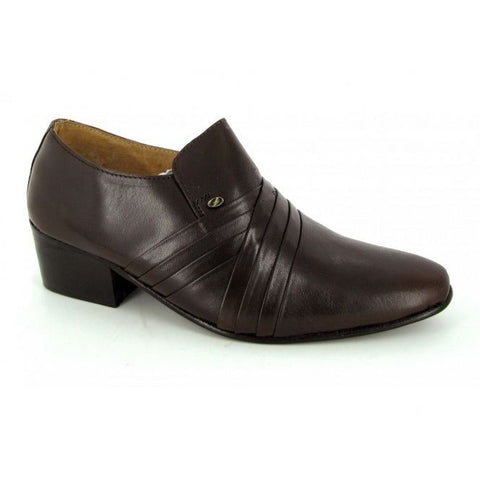 Lucini Formal Mens Cuban Heels Cross Leather Slip On Wedding Shoes Brown - BOOTSANDLEATHER