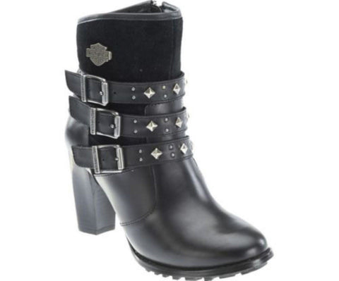Harley Davidson Abbey Ladies Black Leather Biker Heel Boots Triple Strap Dress - BOOTSANDLEATHER