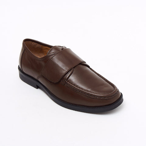 Lucini Formal Men Brown Leather Velcro Heels Smart Shoes Slip On Wedding Loafer - BOOTSANDLEATHER