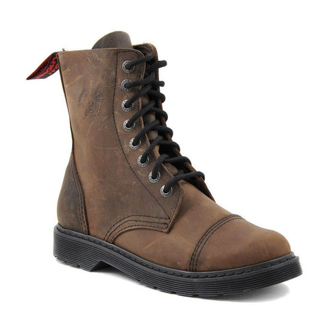 Angry Itch 8 Hole Punk Vintage Vintage Brown Leather Army Ranger Boot Light Sole - BOOTSANDLEATHER
