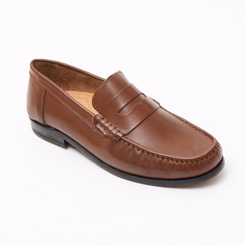 Lucini Formal Men Tan Brown Leather Moccasin Heels Shoes Slip On Casual Loafer - BOOTSANDLEATHER