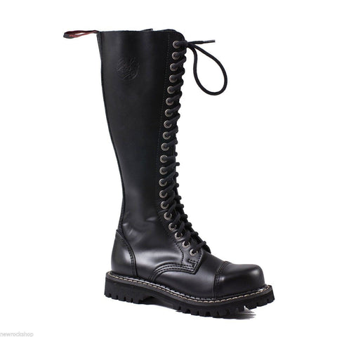 Angry Itch 20 Hole Punk Black Buckle Leather Army Ranger Boots Steel Toe Zip - BOOTSANDLEATHER