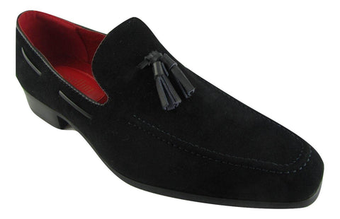 Rossellini Jersey Mens Moccasin Shoes Black Faux Suede Loafer Tussle - BOOTSANDLEATHER