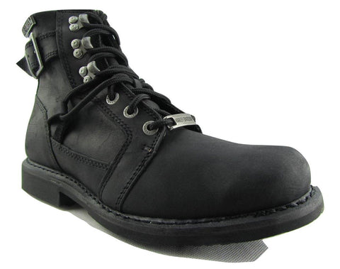 Harley Davidson Harrison Men's Black Leather Biker Boots Hooked Lace Up Buckle - BOOTSANDLEATHER