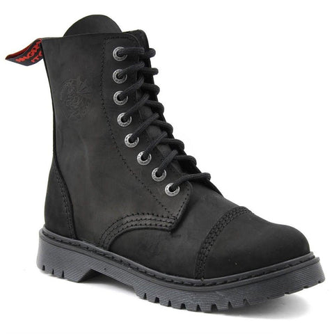 Angry Itch 8 Hole Punk Vintage Vintage Black Leather Army Ranger Boot Light Sole - BOOTSANDLEATHER