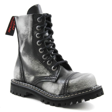Angry Itch 8 Hole Punk White Rub Off Leather Army Ranger Boot Steel Toe - BOOTSANDLEATHER