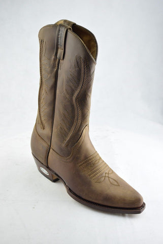 Loblan 2616 Brown Waxy Leather Cowboy Boots Hand Made Classic Biker Western 206 - BOOTSANDLEATHER