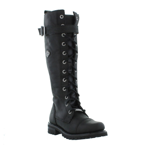 Harley Davidson Savannah Biker Boots Black Leather Lace Up Motorbike Ladies Boot - BOOTSANDLEATHER