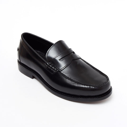 Lucini Formal Men Black Leather Moccasin Heels Shoes Slip On Goodyear Welted - BOOTSANDLEATHER