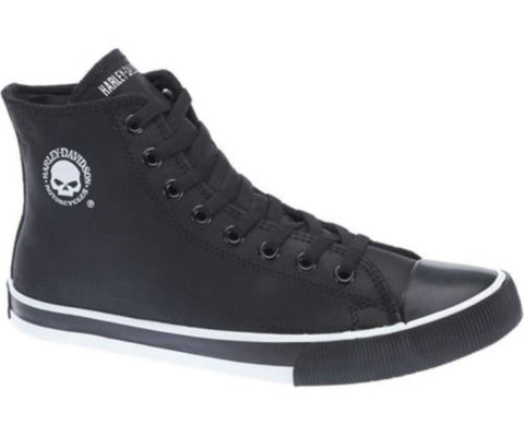 Harley Davidson Baxter Biker Men Shoes High Top Sneaker Black White Leather Bike - BOOTSANDLEATHER