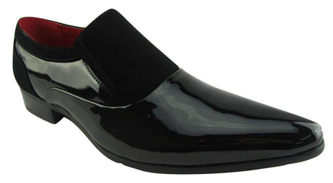Rossellini Hackney Men Shoes Black Nubuck Leather Lined Pointed Slip On Smart - BOOTSANDLEATHER