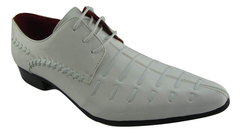 Rossellini Prato Z3 Mens Shoes Lace Up White Patent Pointed Casual Shoe - BOOTSANDLEATHER