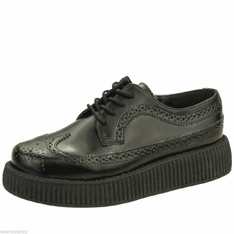 Tuk Av8876 T.U.K. Unisex Shoes Viva Low Sole Creeper Black Wingtip Brogue A8876 - BOOTSANDLEATHER