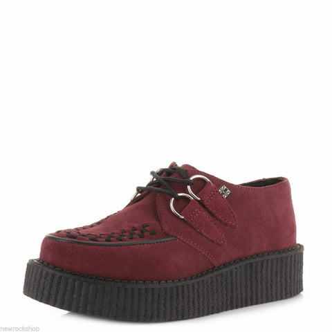 Tuk Av8840 T.U.K. Unisex Shoes Creepers  Red Burgundy Bordeaux Suede Av8840 - BOOTSANDLEATHER