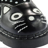 Tuk T2210 Womens Suede Polka Dot Kitty Mary Jane Shoes Black & White - BOOTSANDLEATHER