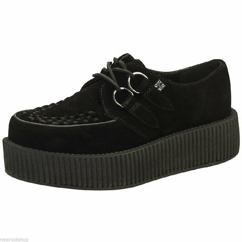 Tuk Av7757 T.U.K. New Unisex Viva Hi Sole Creepers  Black Suede A7757 - BOOTSANDLEATHER
