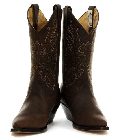 Grinders Buffalo Unisex  Brown Western Leather Boots High Pointed Toe - BOOTSANDLEATHER