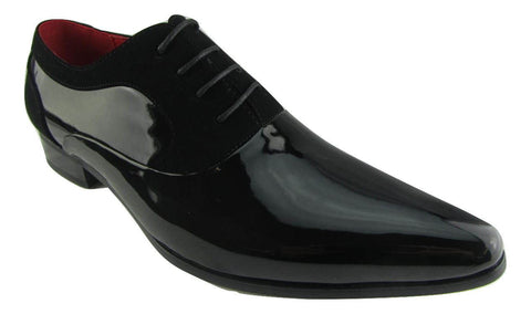 Rossellini Armando Mens Shoes Black Patent Nubuck Lace Up Formal Pointed Shoe - BOOTSANDLEATHER