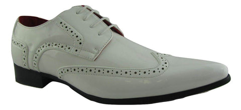 Rossellini Prato Z2 Mens Shoes Lace Up Brogue White Patent Pointed Casual Shoe - BOOTSANDLEATHER