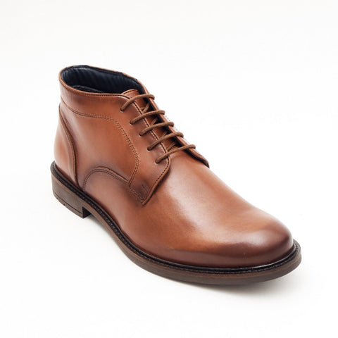 Lucini Formal Men Brown Leather Formal Heels Lace-Up 5 Hole Boots Wedding Office - BOOTSANDLEATHER