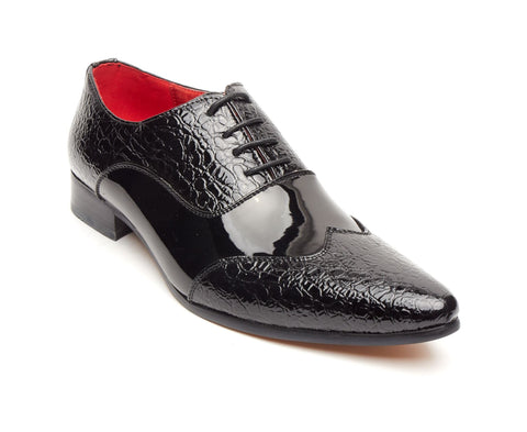 Rossellini Fellini Zx Mens Shoes Black Leather Lined Metal Pointed Rock Shoe - BOOTSANDLEATHER
