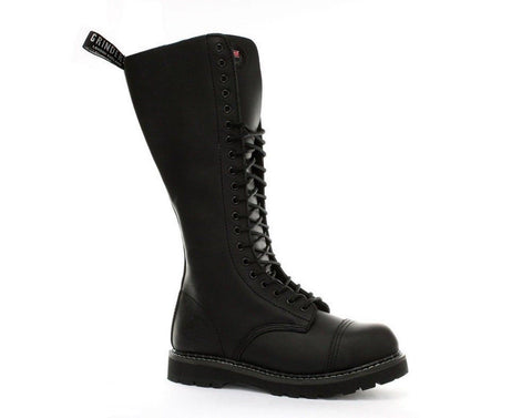 Grinders King Boots Black Leather 20 Hole Safety Cap Knee Combat Boot Punk - BOOTSANDLEATHER