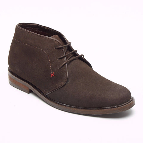 Lucini Men Brown Suede Coffe Lace Up Desert Chukka 3 Eyelet Boots Chisel Toe - BOOTSANDLEATHER