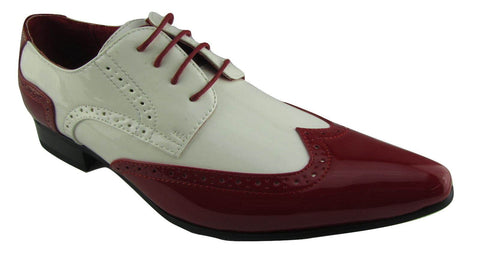 Rossellini Prato Z2 Mens Shoes Lace Up Brogue Red White Pointed Casual Shoe - BOOTSANDLEATHER