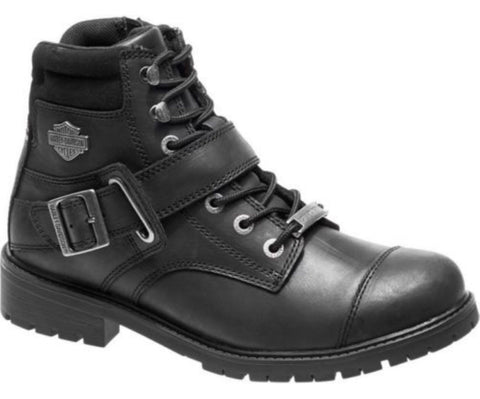 Harley Davidson BOWERS Men Black Leather Biker Boots Rock Buckles Lace Up - BOOTSANDLEATHER