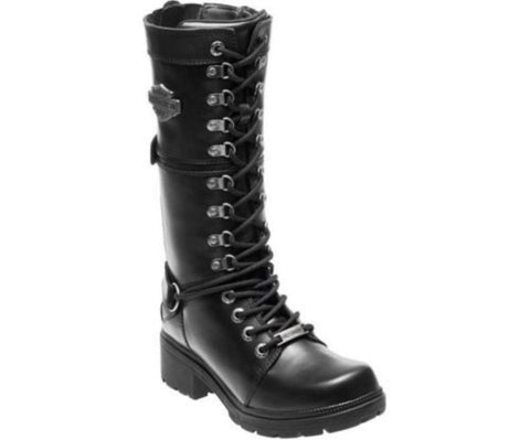 Harley Davidson Harland Biker Boots Black Leather Lace Up Motorbike Ladies Boot - BOOTSANDLEATHER