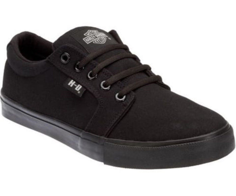 Harley Davidson Ellis Black Mens Canvas Trainers Relax Lace Up Shoes - BOOTSANDLEATHER