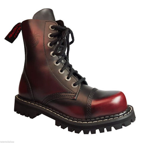 Angry Itch 8 Hole Punk Burgundy Leather Army Ranger Boots With Steel Toe - BOOTSANDLEATHER