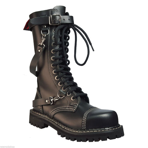 Angry Itch 14 Hole Gothic Punk Black Chain Leather Ranger Boots Steel Toe Zip - BOOTSANDLEATHER