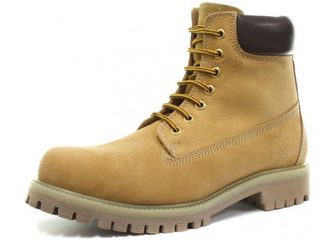 Grinders Brixton Unisex Beige Leather Lace-Up Trakking Boots - BOOTSANDLEATHER