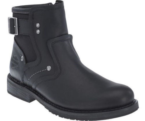 Harley Davidson Woodruff Men'S Black Leather Biker Boots Ankle Bike Boot - BOOTSANDLEATHER