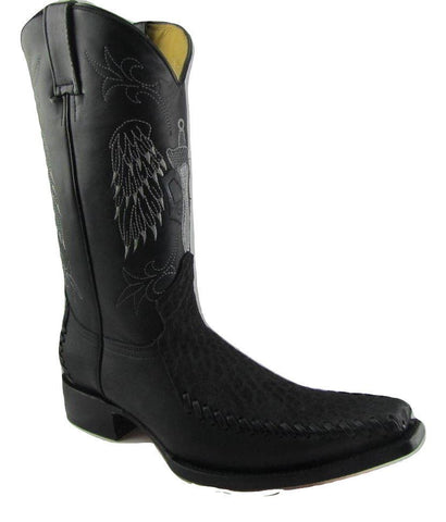 Grinders Kansas Cowboy Western Black Leather Boots Knee High Boot West Biker - BOOTSANDLEATHER