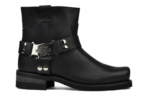 Harley Davidson Iroquois Low Mens Black Leather Square Toe Biker Boots Original - BOOTSANDLEATHER