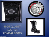 Angry Itch 14 Hole Punk Black Patent Leather Army Ranger Boots Steel Toe Zip - BOOTSANDLEATHER