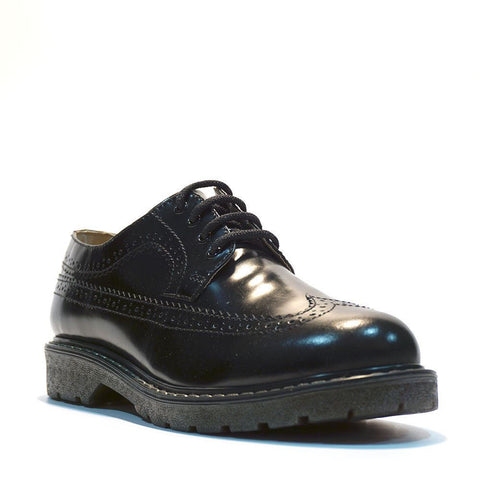 Grinders New Bertrum Black Leather American Brogue Air Cushioned Soles - BOOTSANDLEATHER