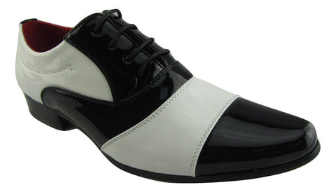 Rossellini Marco Mens Shoes Black White Patent Lace Up Casual Shoe - BOOTSANDLEATHER
